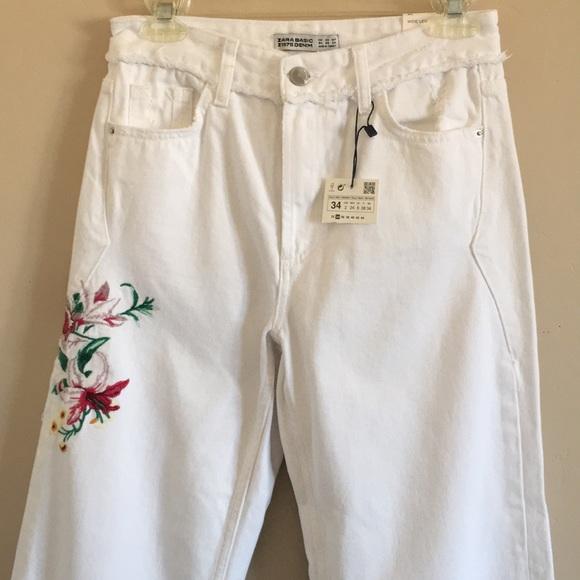 Zara Denim - Zara | Basic Denim Jean Floral Embroidery White 2